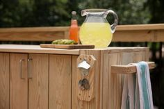 This project creates the perfect diy cooler stand and other accessories to make those outdoor gatherings happen a little more frequently. Cooler Stand, Diy Cooler, Diy Projects Plans, Patio Bar, Backyard Ideas, Make It Yourself, Outdoor Patio Bar, Patio Table, Yard Crashers