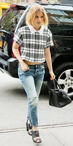 Kate Mara brings colorblocking back as a must-try trend in a killer plaid crop. // #Fashion