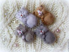 Купить Спящие котята (брошь,броши) - брошь, брошь ручной работы, брошь из войлока