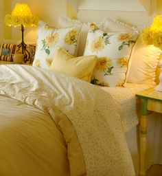 blue and yellow ideas for bedroom | Yellow Daisy Bedroom by Studiosnowden via Dreamstime.com