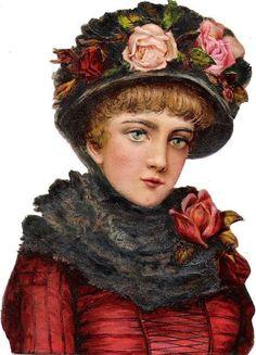 Oblaten Glanzbild scrap diecut chromo Dame lady Blumen Hut flower hat head buste: