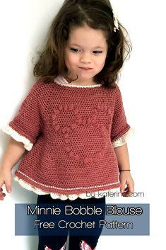 A free crochet pattern of a minnie Bobble Blouse. Do you also want to crochet this blouse? Read more about the Free Crochet Pattern Minnie Bobble Blouse. Crochet Jumper, Crochet Cardigan Pattern, Crochet Top, Crochet Patterns, Mode Crochet, Crochet Girls, Crochet For Kids, Crochet Toddler Dress, Crochet Dress Girl