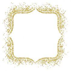 moldura dourada agradável feito com confetti Vetor grátis