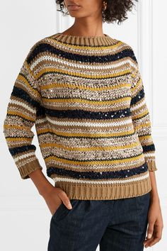 Brunello Cucinelli   Striped sequined cotton-blend sweater   NET-A-PORTER.COM Cardigan Pattern, Knit Fashion, Knit Jacket, Brunello Cucinelli, Lana, Hand Knitting, Knitwear, Crochet, Sweaters