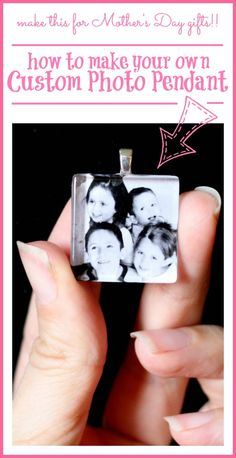 how to make a Custom Photo Pendant for less than $2 - - this is great to give for Mother's Day gift (for grandmas too!) ~ Sugar Bee Crafts