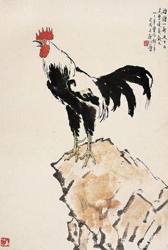 Rooster: Painted by Xu Beihong (徐悲鴻, 1895-1953).