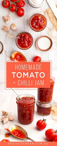 Tomato Recipes Homemade Tomato and Chilli Jam - tangy, sweet and spicy, perfect on sandwiches and burgers! Relish Recipes, Chilli Recipes, Jam Recipes, Drink Recipes, Burger Recipes, Recipies, Tomato Chilli Jam, Tomato Relish, Spicy Tomato Chutney