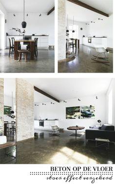 betonnen vloer, mooi ,vloerverwarming lijkt mij wel handig
