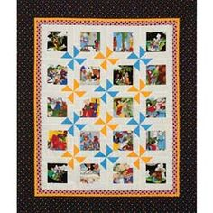 Magic Wheels Quilt Pattern. What a great way to use those novelty fabrics!  Pick your favorite charms, or fussy cut colorful images featured on fabric or panels to be the focal point of this spinning wheel quilt. When you create the blocks of this quilt, they form the pinwheels, so it comes together quickly. The pattern shows two ways to make flying geese units and the different yardage requirements for each, just choose the method you like the best!