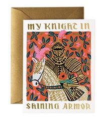 Knight in Shining Armor cards designed by Anna Bond for Rifle Paper Co. Now at Northlight Valentine Day Cards, Be My Valentine, Zine, Rifle Paper Company, Handmade Gifts For Him, Knight In Shining Armor, Husband Birthday, Foil Stamping, Note Cards