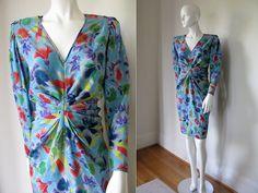 Vintage Emanuel Ungaro 1980s Designer Unique Ruched Front Floral Dress Bust 36