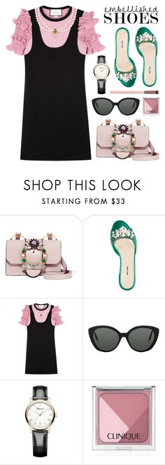 """Magic Slippers: Embellished Shoes"" by anyasdesigns ❤ liked on Polyvore featuring Miu Miu, Gucci, Victoria Beckham, Chopard and Clinique"