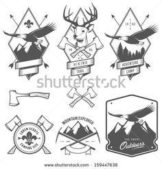 camping symbols free vintage pictures boy scout | Vintage hiking and camping labels, badges and design elements - stock ...