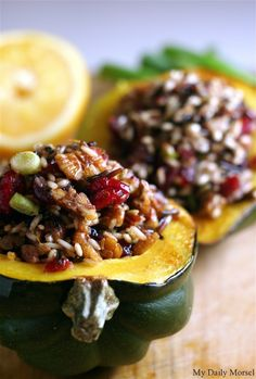 Wild Rice-Stuffed Acorn Squash with Cranberries, Pecans, and Pancetta