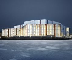Spira Performing Arts Center, image courtesy Wingardh Arkitektkontor | Photo by Åke Eson Lindman  Spira has four different performing arts venues: a main concert hall that seats 910, a 450-seat theater, a 200-seat black box, and a 200-seat café stage. The building is situated on an artificial peninsula jutting out into Lake Munksjön, right in the center of downtown Jönköping.
