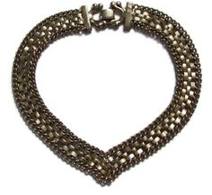 Vintage Silver Metal Link and Chain Choker Necklace by ilovemy1984, $15.00
