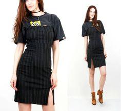 90s Dress / Grunge Dress / Stripped Sarafan / Secreatary Dress / Work Dress / Dress Bodycon / Small Dress by Ramaci on Etsy