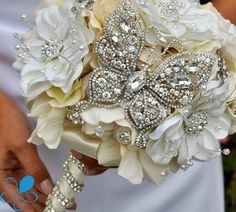Crystal Butterfly Bridal Bouquet | Blue Petyl - Couture Wedding Bouquets
