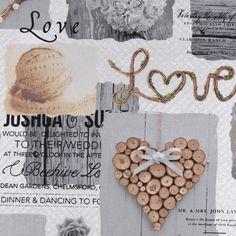 Vánoční dekorační látka Dřevěné srdce Love, metráž