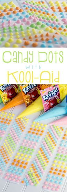 DIY Candy dots - I bet the kids would love these and they are fun to make too! diy candy bar Candy Dots with Kool-Aid - TGIF - This Grandma is Fun Kool Aid, Yummy Treats, Sweet Treats, Delicious Desserts, Dessert Recipes, Bar A Bonbon, Dots Candy, Homemade Candies, Candy Making