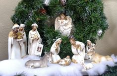 White Nativity Set $140.00  10 piece white nativity set by Joseph's Studio from Roman. Beautiful ornate figurines with gold and white decor. This set come with Mary, Joseph, Baby Jesus, three kings, a cow, a donkey, a lamb, and a shepherd. Note: Angel ornament not included in set.