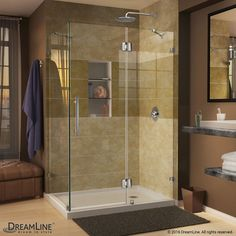 Quatra Lux 34-5/16-inch x 34-5/16-inch x 72-inch Frameless Corner Hinged Shower Enclosure in Chrome