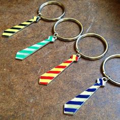 Harry Potter Hogwarts house colors tie keychain - Hufflepuff, Slytherin, Griffindor, Ravenclaw - on Etsy, $6.50
