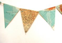 Recycled vintage map bunting or garland. Shabby chic home decor. Bookshelf accent.by moonanlion