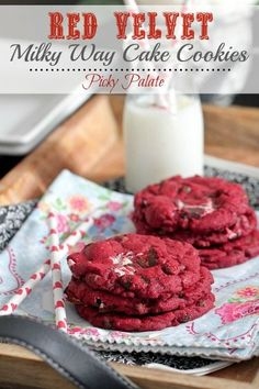 Red Velvet Milky Way Cake Cookies by Picky Palate. Grab a red velvet cake mix and some Milky Way bars, and you're on your way to some special christmas cookies #christmascookies #cookies #redvelvet #milkyway