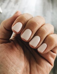 Gel manicure on natural nails with a short, square shape— love the creamy, opaque nude color. Beige Nails, Cream Nails, Neutral Gel Nails, Neutral Nail Color, Neutral Lipstick, Nude Color, Nude Nails, Coffin Nails, My Nails