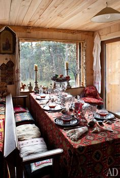 ⋴⍕ Boho Decor Bliss ⍕⋼ bright gypsy color & hippie bohemian mixed pattern home decorating ideas - dining room;