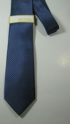 NEW NWT MICHAEL KORS Rich Metallic Blue CrissCoss Plaid Skinny Tie 100% Silk  #michaelkors #NeckTie