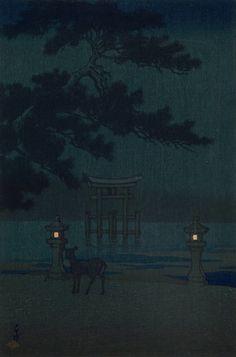 Kawase Hasui (川瀬 巴水), Misty Night at Miyajima; Souvenirs of Travel II (Tabi miyage dai nishû), 1921.