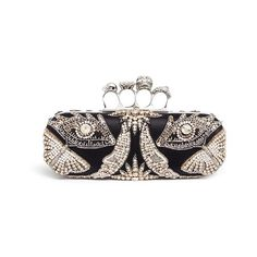 Alexander McQueen 'Surrealist Diamante' embellished silk satin knuckle... ($2,495) ❤ liked on Polyvore featuring bags, handbags, clutches, black, special occasion clutches, knuckle purse, evening purses, holiday handbags and butterfly purse