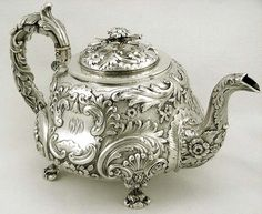 English Sterling Silver Floral & Satin Bird Spout Teapot 1829