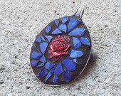Spoon Jewelry, Mosaic Jewelry, Art Pendant, Cameo Red Rose, Victoriian Mosaic Pendant