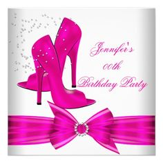 Blue and Gold High Heels Womans Birthday Party Custom Invitation so