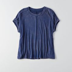 AE Dolman T-Shirt ($25) ❤ liked on Polyvore featuring tops, t-shirts, blue, sexy tank tops, fitted tank tops, sexy tops, sexy tanks and button back top