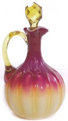 New England Glass company | New England Glass Co,plated cruet | Amberina Glass
