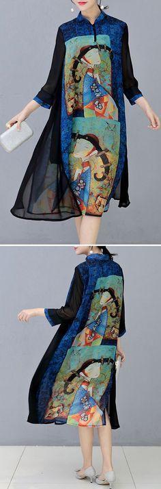 US$ 26.99 O-NEWE Vintage Stand Collar 3/4 Sleeves Printed Dresses