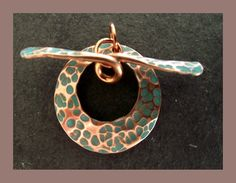 Pure Copper Toggle Clasp with turquoise patina detail by abyjem