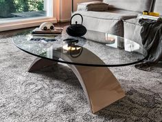 Elegant High Gloss Oval Coffee Table by Tonin Casa in a Choice of 3 Colours