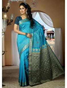 http://aiuchefashion.com/women-wear/saree/silk-sarees/100926422.html  Bring Out The True Diva In You And Reinvent Your True Self. Attract Compliments By This Cyan Blue Silk Saree. This Beautiful Attire Is Showing Some Amazing Embroidery Done With Chikan Work, Gold Zardosi, Patch Work & Resham Work.