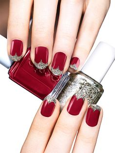 red carpet starlet (essie) : although i think i would keep the silver to a simple french line