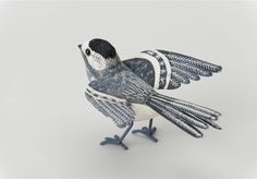 Pied Wagtail, one of Emily Sutton's beautiful handcrafted birds.