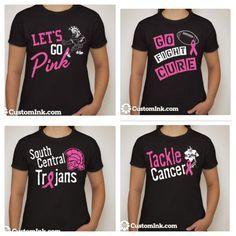 Breast Cancer awareness design ideas for cheer 2013 Breast Cancer Bows, Breast Cancer Shirts, Cancer Awareness Shirts, Breast Cancer Awareness, Cheer Shirts, Football Shirts, Pink Football, Football Moms, Football Stuff