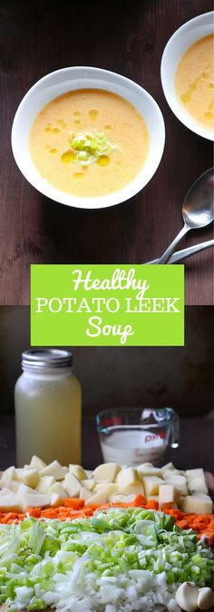 Healthy Potato Leek Soup is a lighter twist on a classic favourite. Creamy without any added cream! | flatlandfreshfood.com