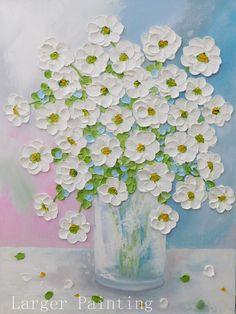 White Daisy Oil Impasto Original Painting Custom Painting