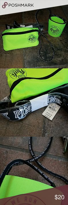 VS PINK Fanny pack and Coozie Lime green fanny pack with Coozie.  Coozie has lanyard so you never lose your drink. PINK Victoria's Secret Bags Travel Bags