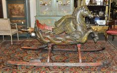 It is our extreme pleasure to offer this extraordinary, Continental (probably, Southern Germany) circa carved wood, polychromed PEGASUS child's sleigh. Toy Wagon, Vintage Sled, Sea Isle City, Sleigh Rides, Rocking Horses, Pull Toy, Carousel Horses, Vintage Christmas Ornaments, Carved Wood